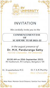 Invitation for commencement day of RVU
